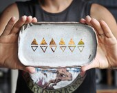MOHO - Earth Jewellery Plate  - Copper Lustre Triangles - Dark Stoneware - Made to order - Free Postage Australia Wide