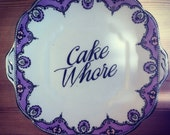 "Hand Decorated Collingwood 'Cake Whore' 9.5"" Cake Plate / Platter"