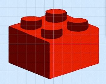 "Lego Block - Machine Embroidery (4x4"" multi-format)"