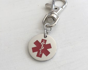 Personalized Medical Alert Charm - Medical Alert Charm - Medical Id - Engraved -
