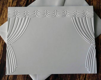 Stage Cards, Set of 5, Embossed Note Card Set, Blank Note Cards, Gift for Drama Teacher, Theatre Curtain Greeting Card Set, Performer Cards