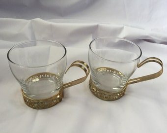 Set of Two Very Rare Vintage Di Saronno Glasses with Brass Holder