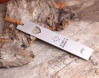 Personalized Bookmark -  Latitude Longitude Bookmark - State Map Boorkmark - Graduation Gift