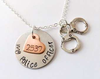 Police Officer Necklace, Police Wife, Police Necklace Badge Number, Law Enforcement Necklace, I Love My Police Officer