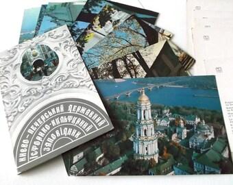 Kyiv Kiev Pechersk Lavra Ukraine Historical Museum Architectural Ensembles Set of 15 Postcards Soviet USSR Photography 1980s