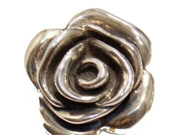 Rose Flower Electroform Stud Earrings .925 Sterling Silver