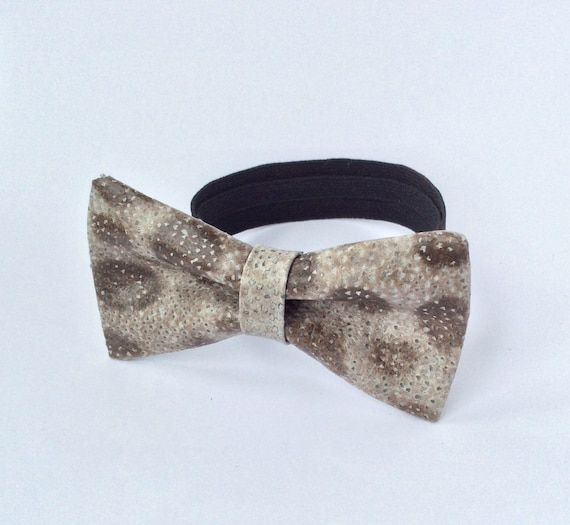 Leather bow tie mens bowtie fish leather bow by for Fish bow tie