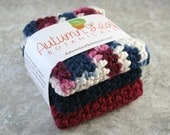 CLEARANCE SALE - Cotton crocheted washcloth (or dishcloth) set in navy blue, burgundy, and a navy and burgundy mix on ecru