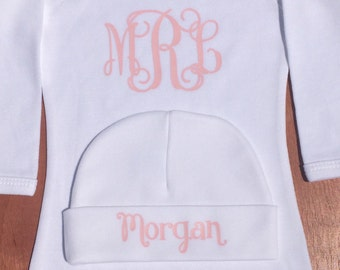 Monogrammed Baby Gown & Hat Set