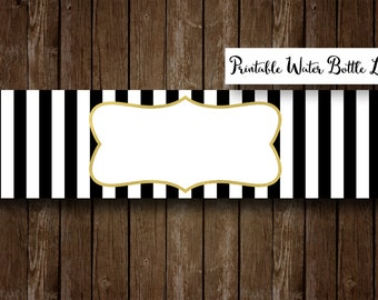 Printable Black and White Striped Water Bottle Labels - 8 x 2 - Blank, Instant Download, DIY, You Write Your Own Text