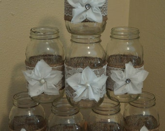8 Rustic Mason Jar Burlap Lace Wedding Decorations