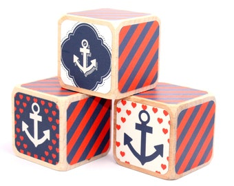 Nautical Nursery - Baby Girl - Navy Blue and Red - Anchor Decor - Baby Shower Gift - Baby Shower Decor - 2 Inch Blocks