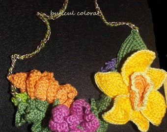 Spring necklace, crochet necklace, Spring flowers, crochet daffodil, viola, crocus, unique gift, OOAK, crochet flowers, handmade