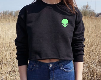 Alien Head Face Cropped Sweater Bohemian Festival Summer Jumper Crop