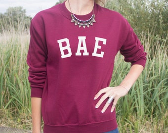 Bae Varsity Jumper Sweater Top OOTD Gift Cute Quote Boyband Fashion Grunge