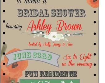 Custom Poppy Bridal Shower Invitations