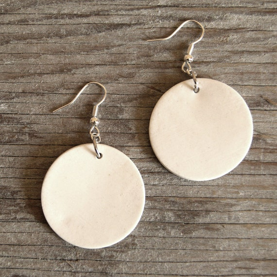 LARGE white glossy round stoneware drop earrings