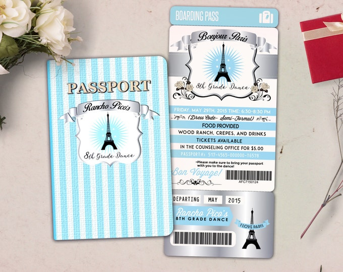 Paris,,Prom,PASSPORT and TICKET invitation! Birthday party invitation- travel birthday party, 8th grade dance, passport, Digital files only
