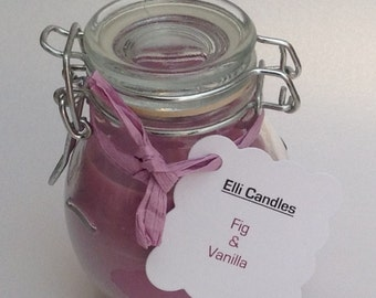 Fig and vanilla scented candles in our popular globe jars!