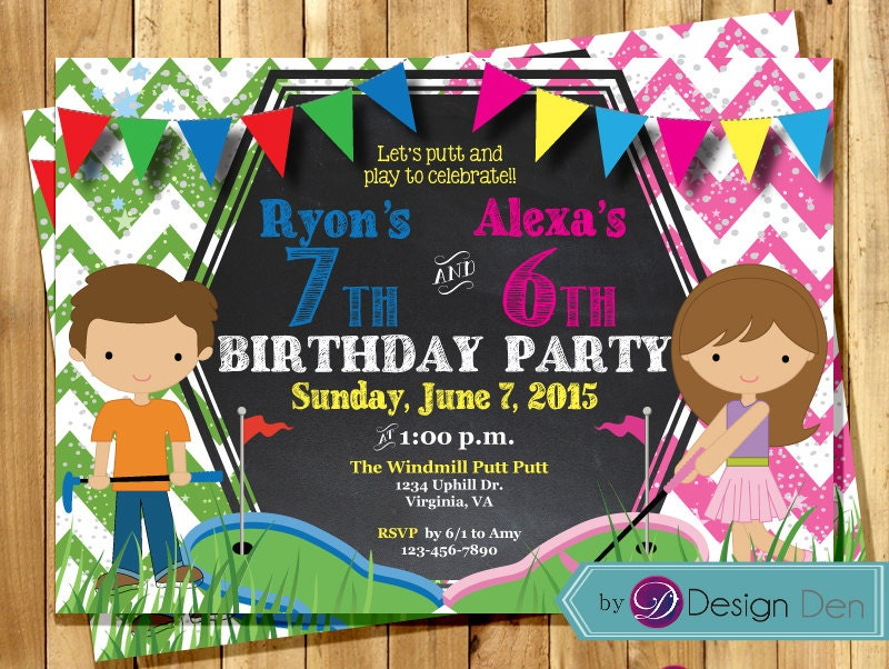 Printable Joint Birthday Party Invitations ~ Kids joint mini golf birthday party invitations combined