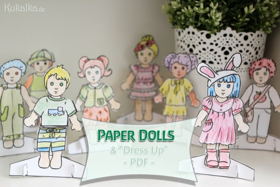 """Paper Dolls: """"Zieh mich an""""- Püppchen aus Papier - DIY Cutout paper dolls by Kukalka"""