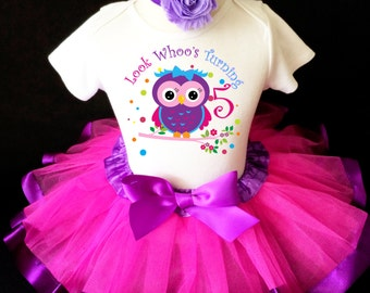 Fast Shipping - Birthday Owl LOOK Whoo's Turning Blue Purple Hot Pink Number 5th Fifth Age 5 Shirt & Tutu Set Girl Outfit Party