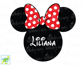 Minnie Mouse Ears Printable Iron On Transfer Red Bow - DIY Disney Shirt Personalized Disney Minnie Download Disney World Disneyland Shirt