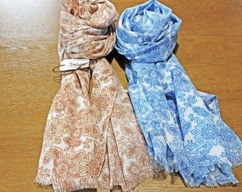 Slim lightweight summer/spring scarf - paisley and flower pattern - light brown & cobalt blue