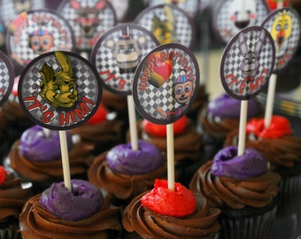 Five Night's At Freddy's Cupcake/Cake Topper Printable - Includes Cupcake Character Candle - Also Used As Jar Labels- FNAF Birthday Party