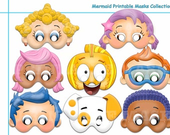 Bubble Guppies Halloween Costumes deluxe felt mask kids mask inspired by bubble guppies costume dress up halloween pretend play party favor mmtm0023 Unique Mermaid Printable Masks Fish Mask Kids Party Mask Guppy Fish Costume Under The Sea Puppy Photo Props Bubbles Party Favor