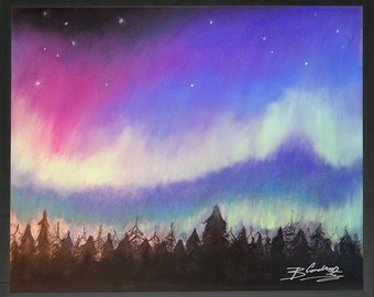 Aurora borealis drawing...wall decoration nature gift pastel 40 x 50 cm...colorful drawing