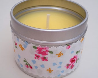 One handmade natural soy scented candle decorated in pretty vintage-style floral fabric
