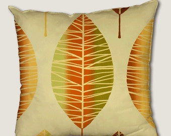 Pillow cover, decorative cushions in Nervures Orange fabrics, several sizes