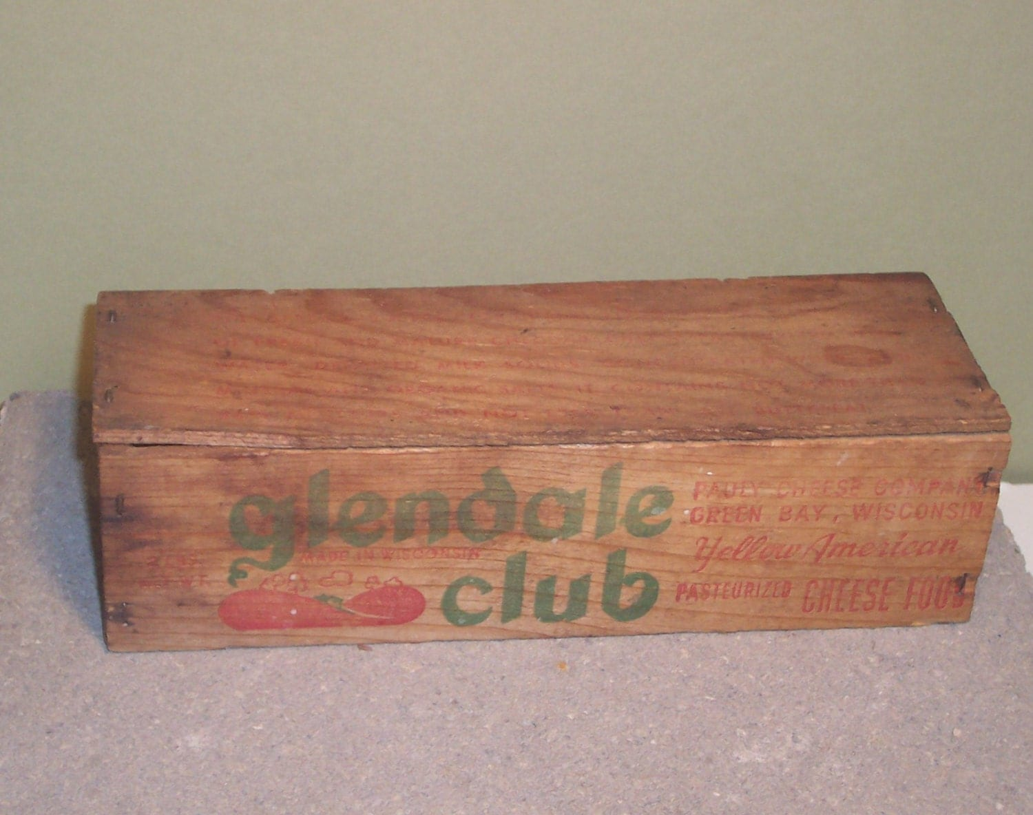 Vintage Wooden Cheese Box Glendale Club Pauly Cheese Co Green Bay Wi