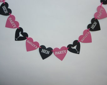 Personalised hot pink and black hen/ bachelorette party bunting/ garland. Bright pink hen night bunting/ banner