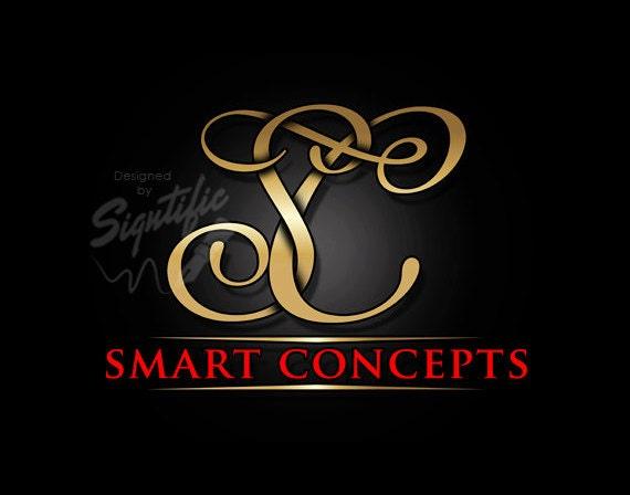 Monogram initials logo, elegant gold initials logo, custom logo design, gold and red logo, business brand, business name and initials design