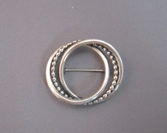Beau Sterling silver round circle pin brooch