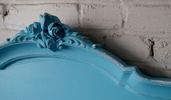 Vintage twin bed frame painted turquoise by cottagenextdoorstl for Turquoise bed frame