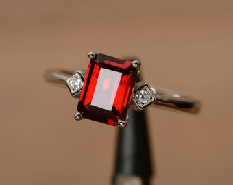 natural red garnet ring January birthstone ring emerald cut ring multistone ring promise ring natural gemstone ring promise ring for her