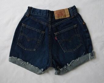 High waisted shorts, vintage Levis 901 blue denim jean shorts, cut off cuffed frayed hotpants, waist 24 25 XS Small