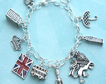 London charm bracelet- themed charm bracelet, tibetan silver charm bracelet