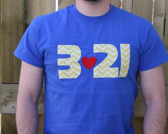 "Down Syndrome Awareness Shirts ~ Adult Sizes (Unisex), Royal Blue T-shirt with Yellow ""321"" Lettering"