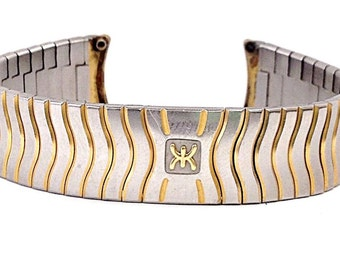 Ebel Wave Stainless Steel 24k Gold Electroplated Trim 18mm Watch Band