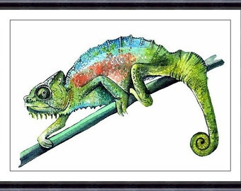 CHAMELEON Watercolor Art Print, Watercolor Painting ,Art Print Colorful Chameleon 066