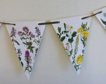 Floral Paper Bunting Green Ribbon