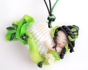 Mermaid necklace, Green mermaid, Pendants,Polymer clay,Natural sea shell, OOAK