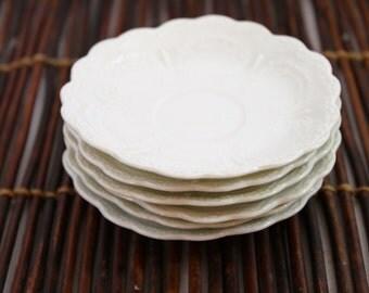 Six Milky White Vintage O & E G Royal Austria Fine China Butter Pat Dishes