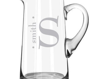 Personalized Family Name / Monogram Etched Glass Pitcher