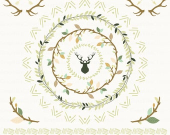 Country Wedding Clipart. Laurel Wreaths Branches Antlers