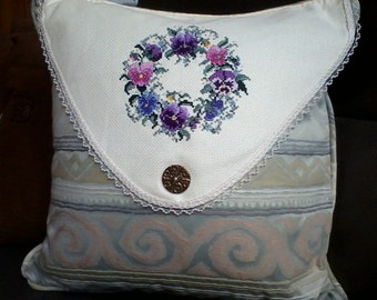 Embroidered Pansy Pillow